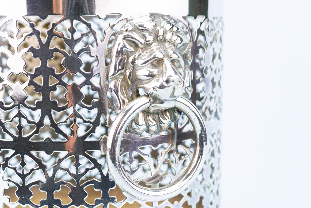 Large Silver Plated Wine Bottle Coaster with Lion Handles