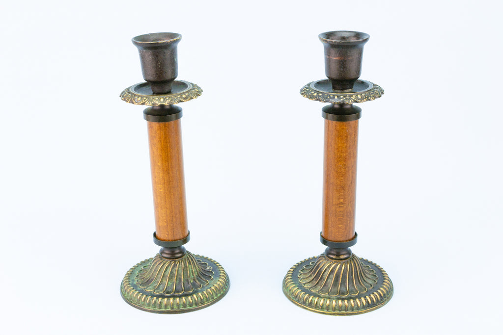 Arts & Crafts Candlestick in Wood and Brass, English Early 1900s