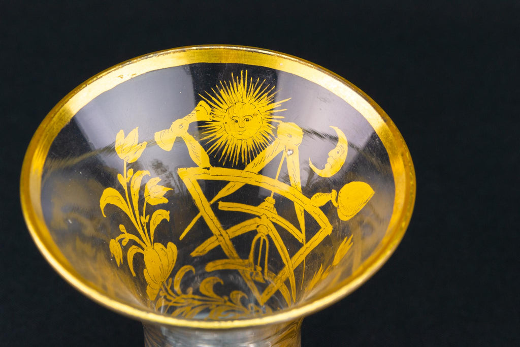 Masonic Gilded Firing Glass, English Circa 1780