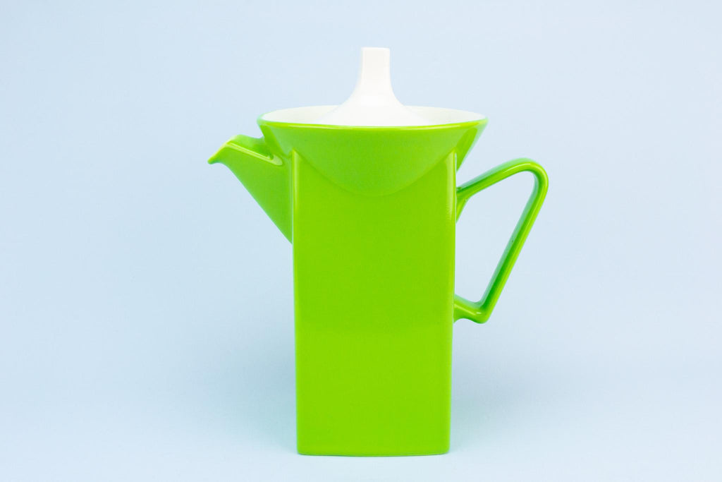Green Coffee Pot Square & Tall, English 1960s