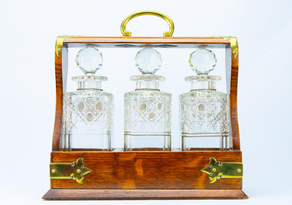 Tantalus with Three Square Decanters, English Early 1900s