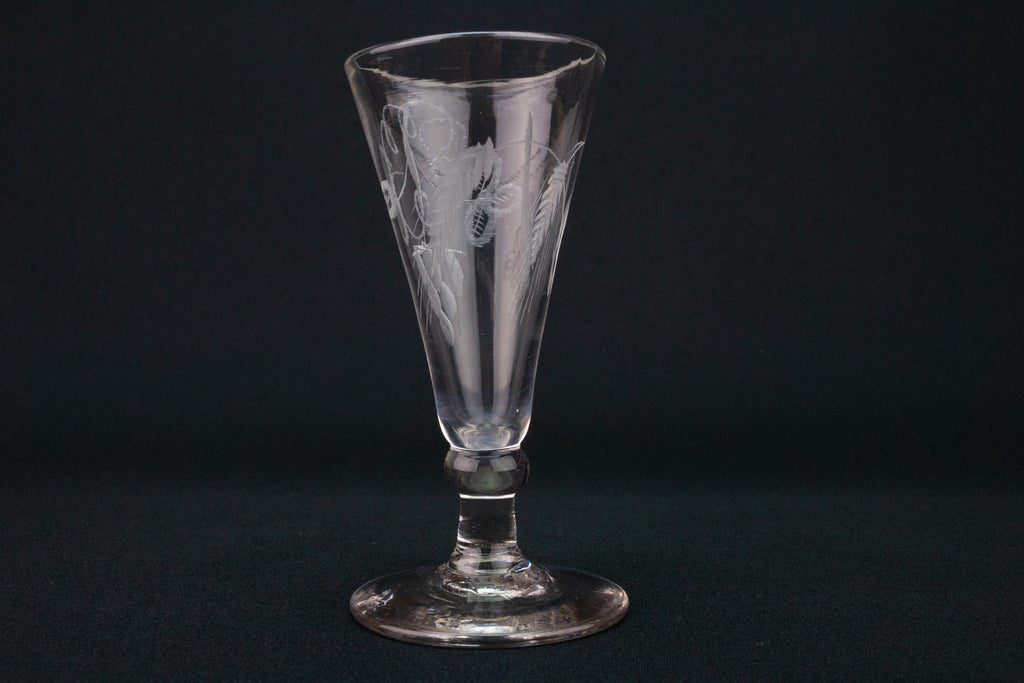 Engraved Wine Glass, English Circa 1790