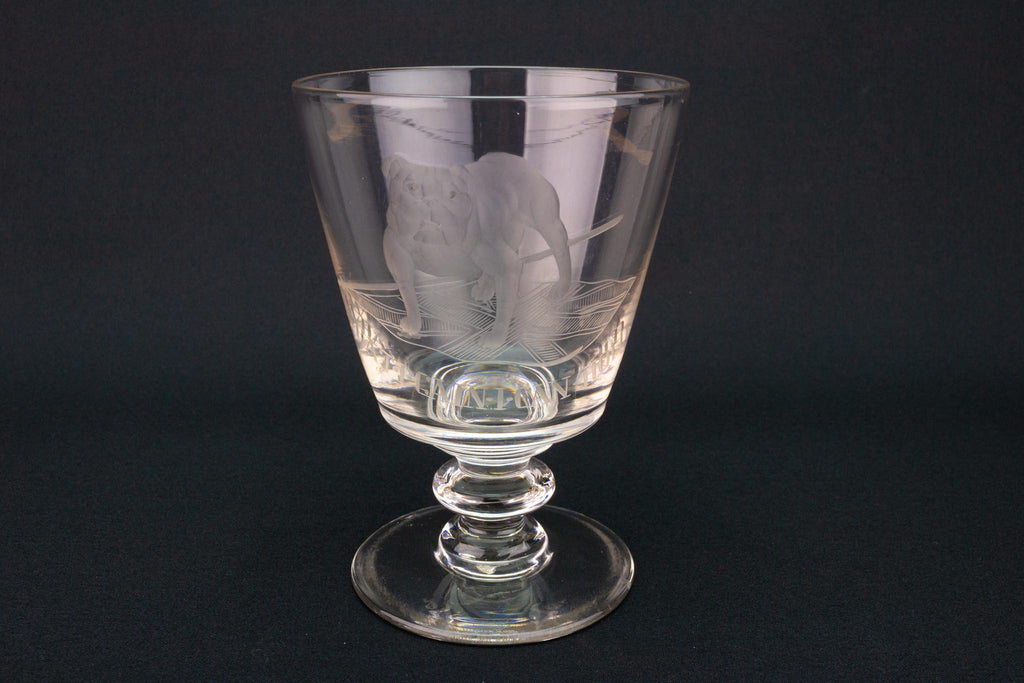 Bulldog & Union Jack Wine Glass, English Circa 1820
