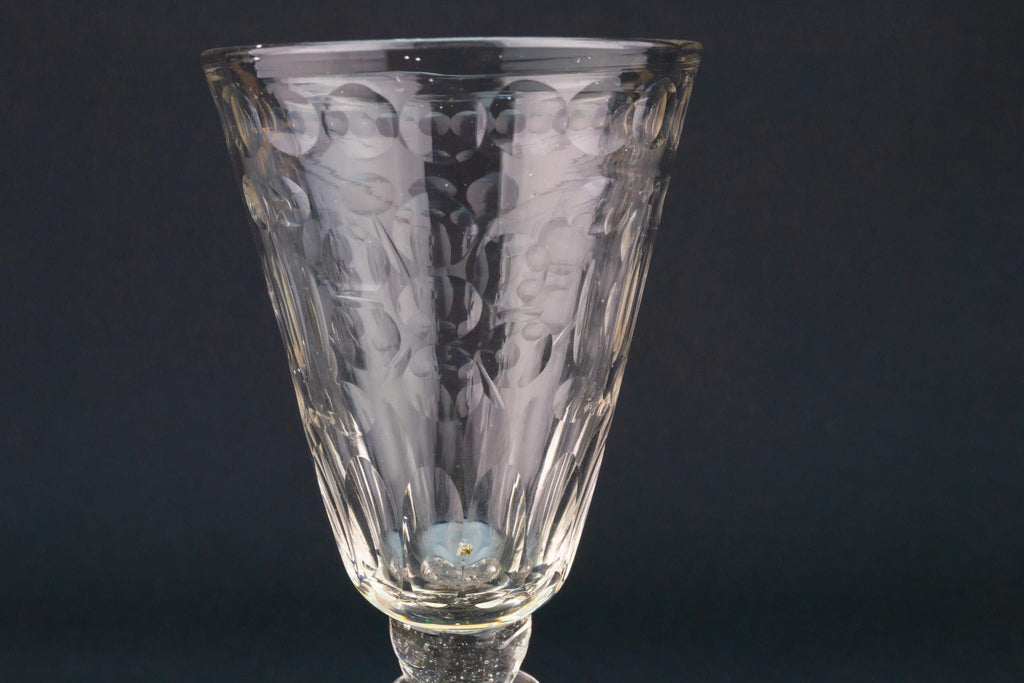 Wine Glass with Cut Design, English circa 1740