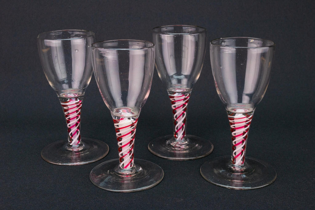 4 Wine Glass on Red Twist Stem circa 1770