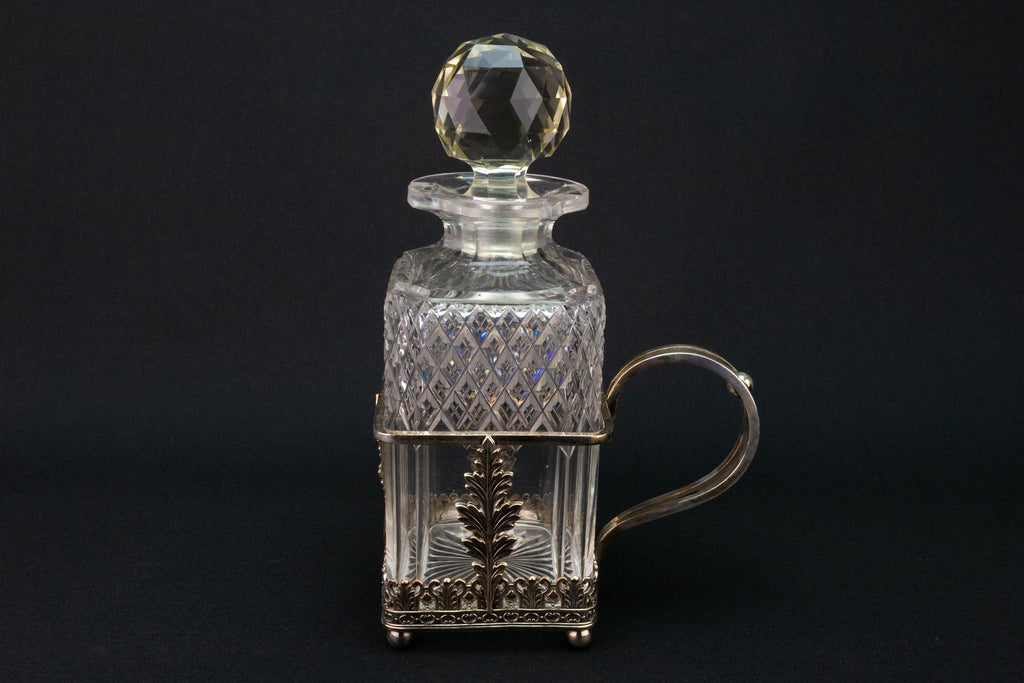 Square Glass Decanter & Silver Plated Handle 19th Century