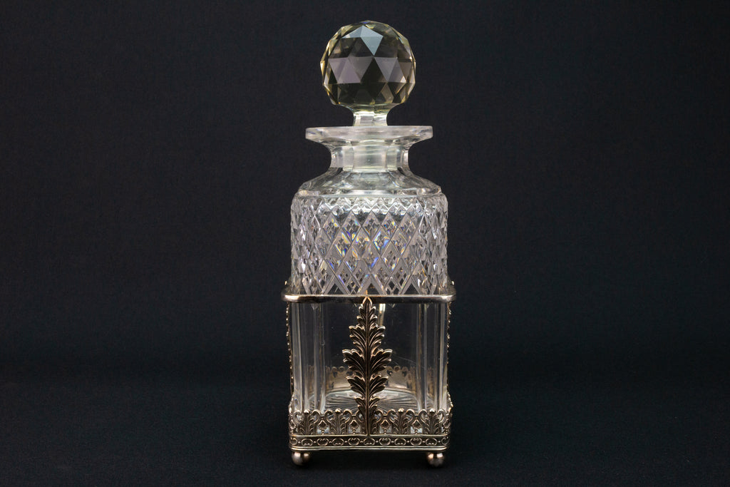 RESERVED for RCH | Square Glass Decanter & Silver Plated Handle 19th Century