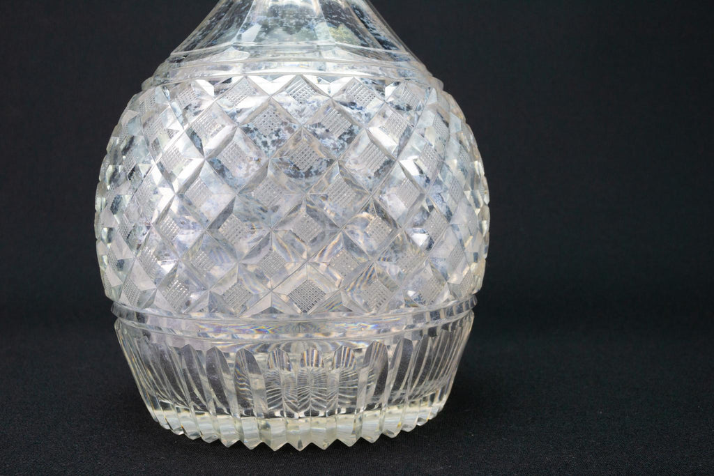 Large Cut Glass Decanter, English Circa 1820