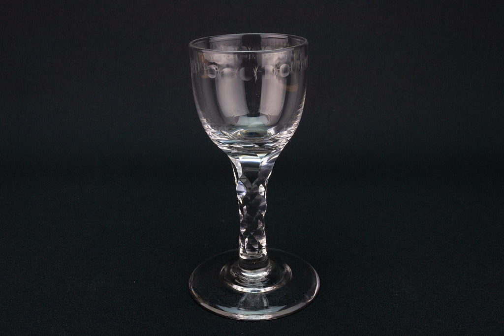 OXO Pattern Wine Glass, English circa 1780