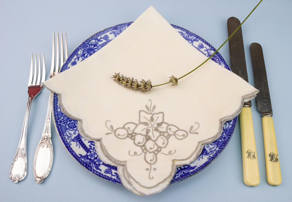 4 Embroidered Grapes Linen Napkins, English 1920s