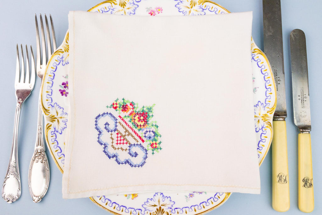 6 Colour Embroidered Linen Napkins, English 1920s