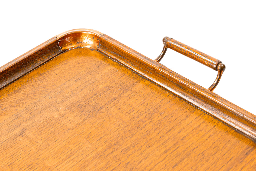 Oak & Copper Tray with Handle, English 1920s