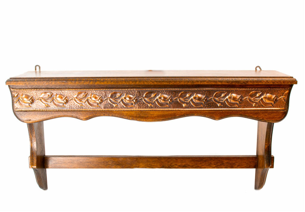 Arts & Crafts Oak and Copper Shelf, English circa 1900