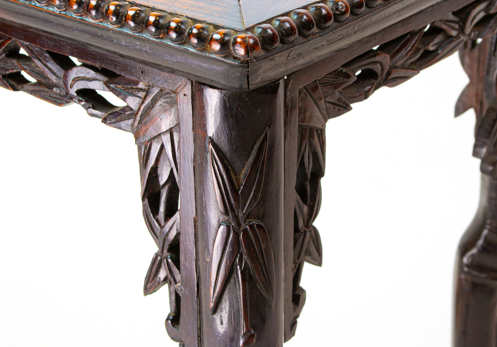 Carved Wood & Marble Stand, Chinese Circa 1900