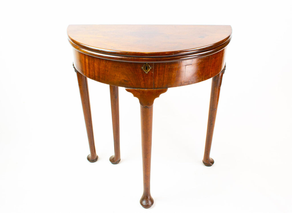 Mahogany Demilune Folding Table, English 18th Century