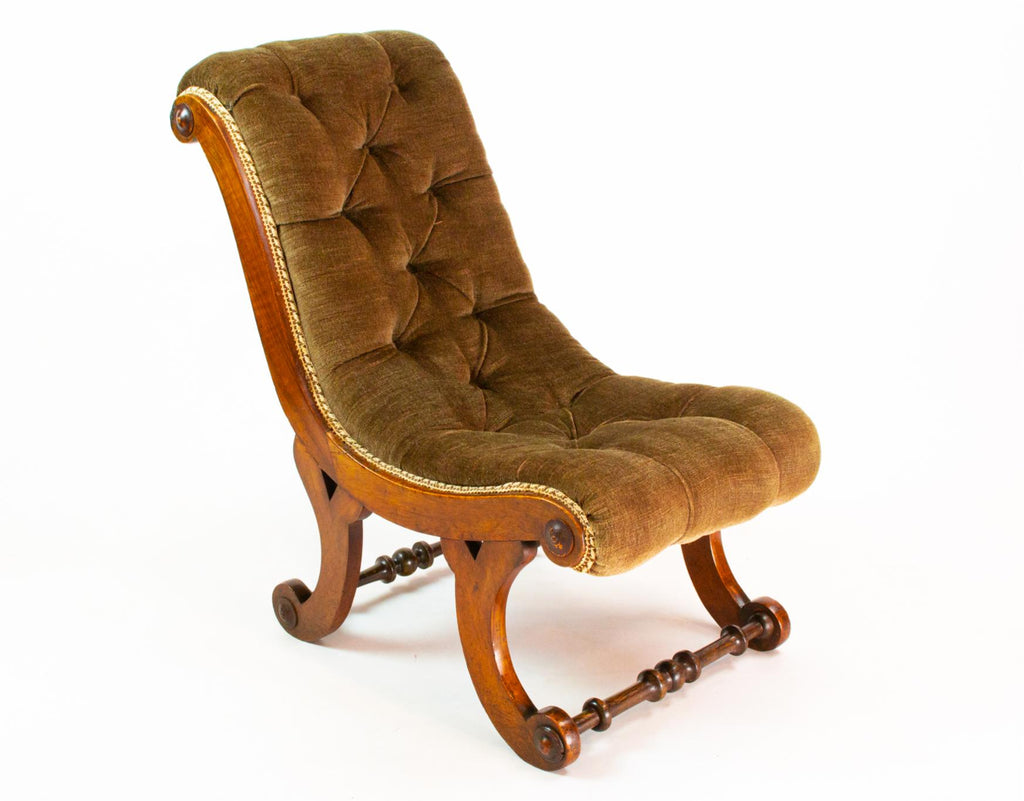 Small Green Walnut Chair, English 19th Century