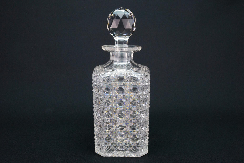 Whisky Decanter Square Cut Glass, English Early 1900s
