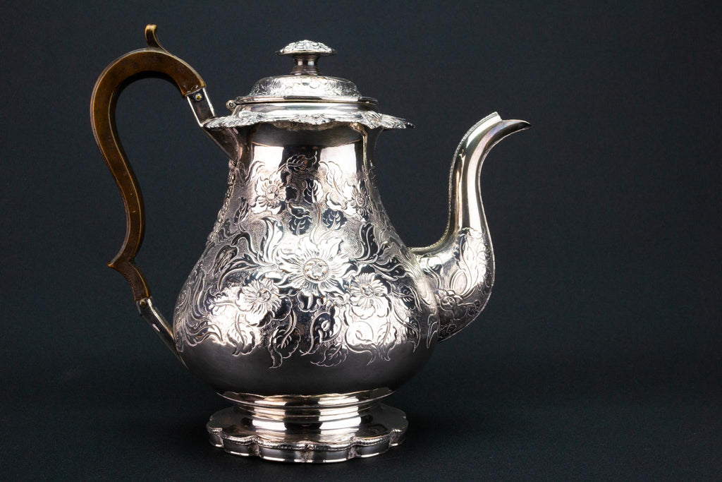 Large Silver Plated Coffee Pot, English 1820s