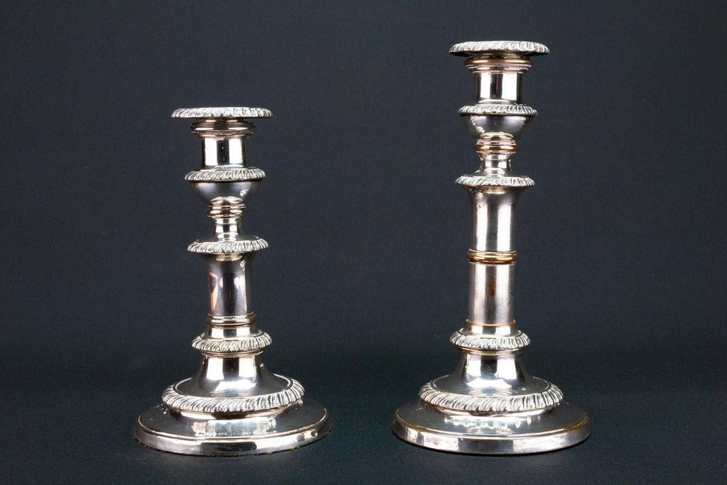 Silver Plated Extending Candlesticks, English 1820s