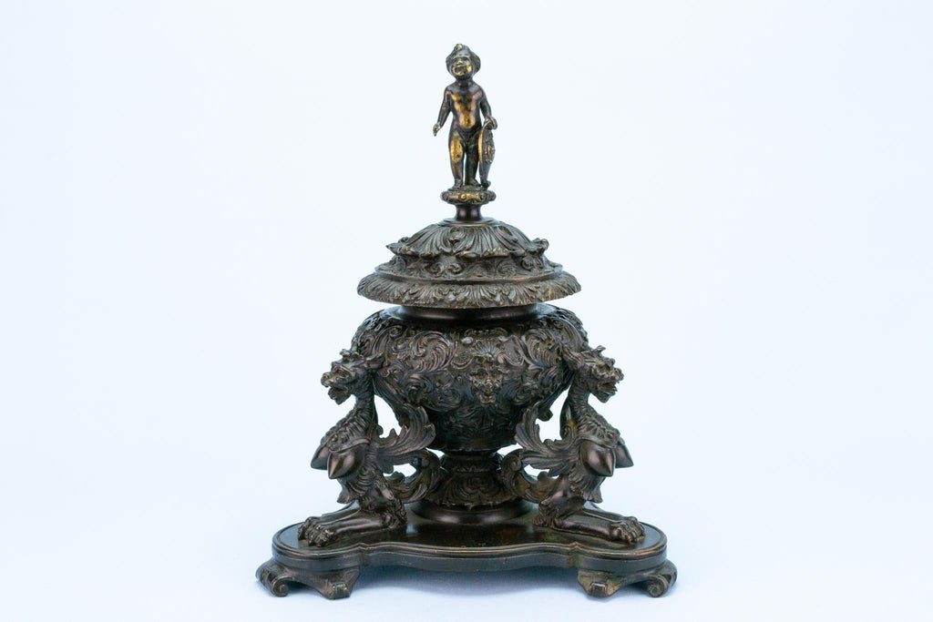 Antique Bronze Inkwell in Renaissance Revival Style