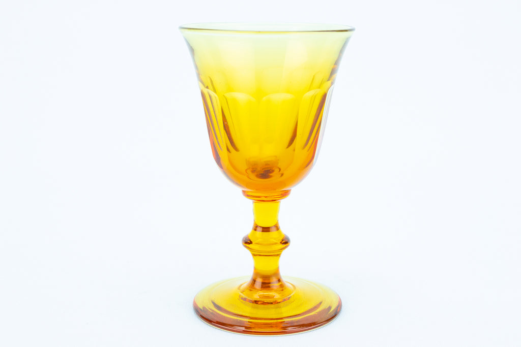 Amber Coloured Port or Sherry Glass, English 19th Century