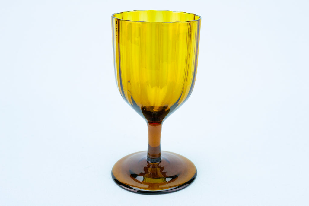 Wine Glass Amber Wrythen, English Circa 1820
