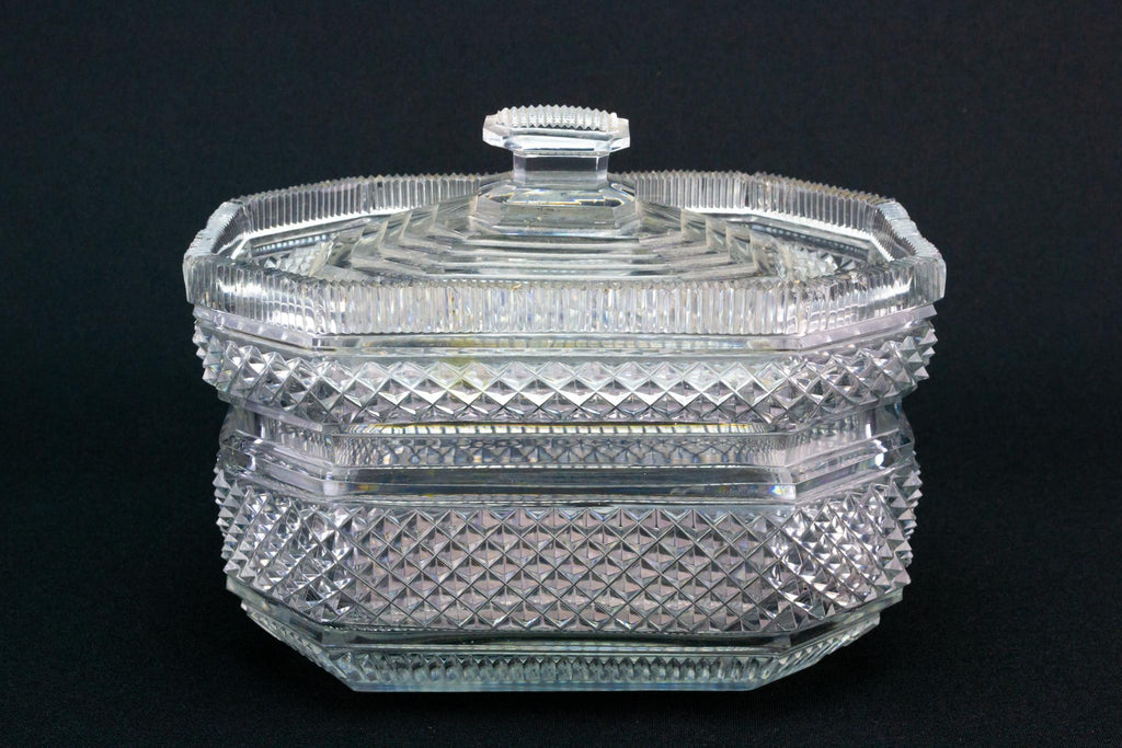 Irish Cut Glass Butter Dish, Circa 1820