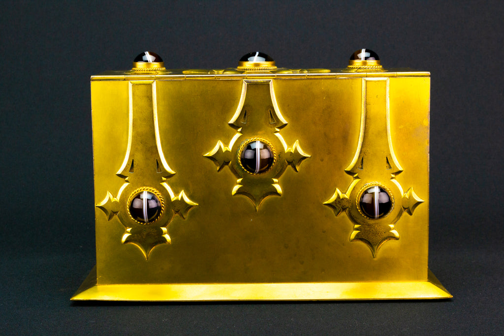 Gilded Brass & Agate Gothic Revival Box, English 1860s