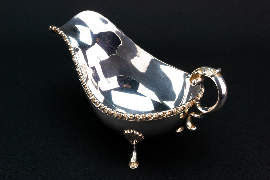 Large  Silver Plated Gravy Boat, English Early 1900s