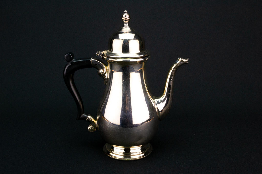 Small Silver Plated Coffee Pot, English 1920s