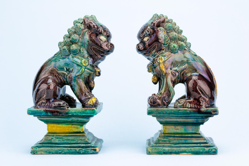 Pair of Chinese Ceramic Fu Dogs, Circa 1900