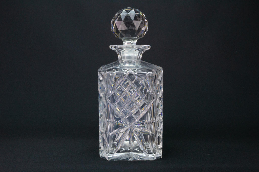 Cut Glass Square Whisky Decanter