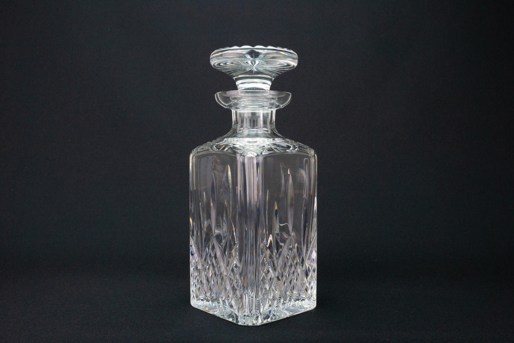 Heavy Square Cut Glass Whisky Decanter