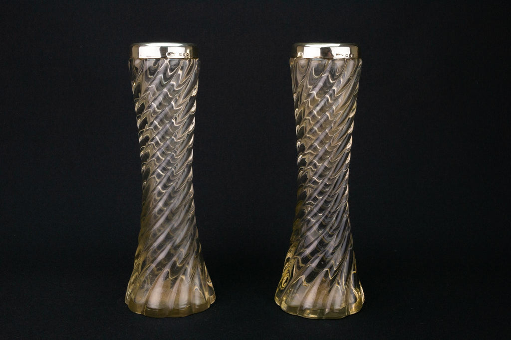 Pair of Glass Sterling Silver Vases, English 1899