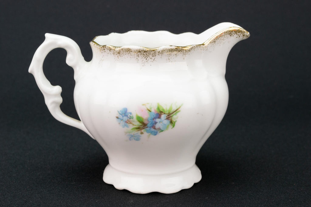 Floral Blue Milk and Sugar Set, English 1910s