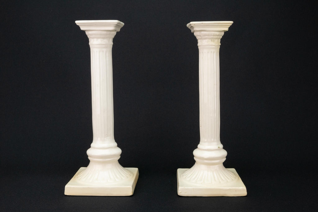 White Ceramic Candlesticks, English 19th Century