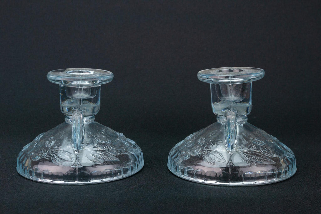 Two Art Deco Glass Candlesticks, English 1930s