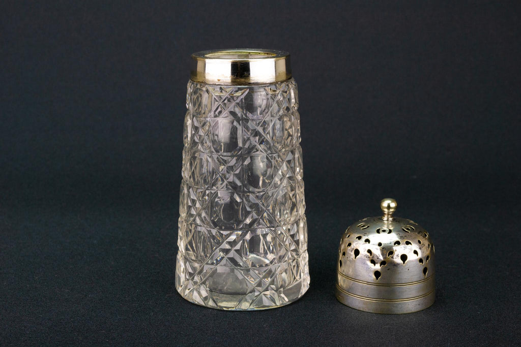 Cut Glass Sugar Caster, English 1930s