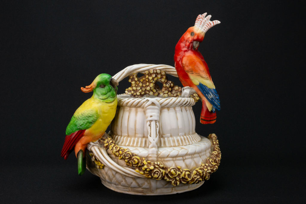 Parrots on a Basket Vase, German 19th Century