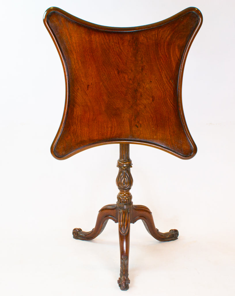 Mahogany Serpentine Tilt Top Table, English 19th Century