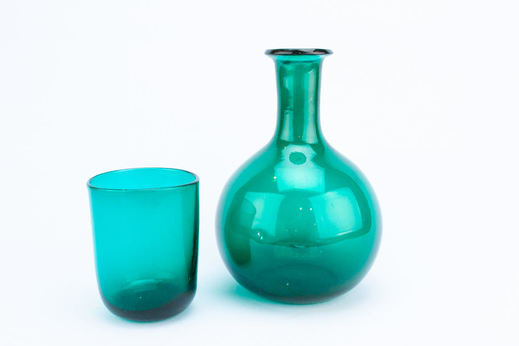 Green Glass Water Carafe, English 19th Century