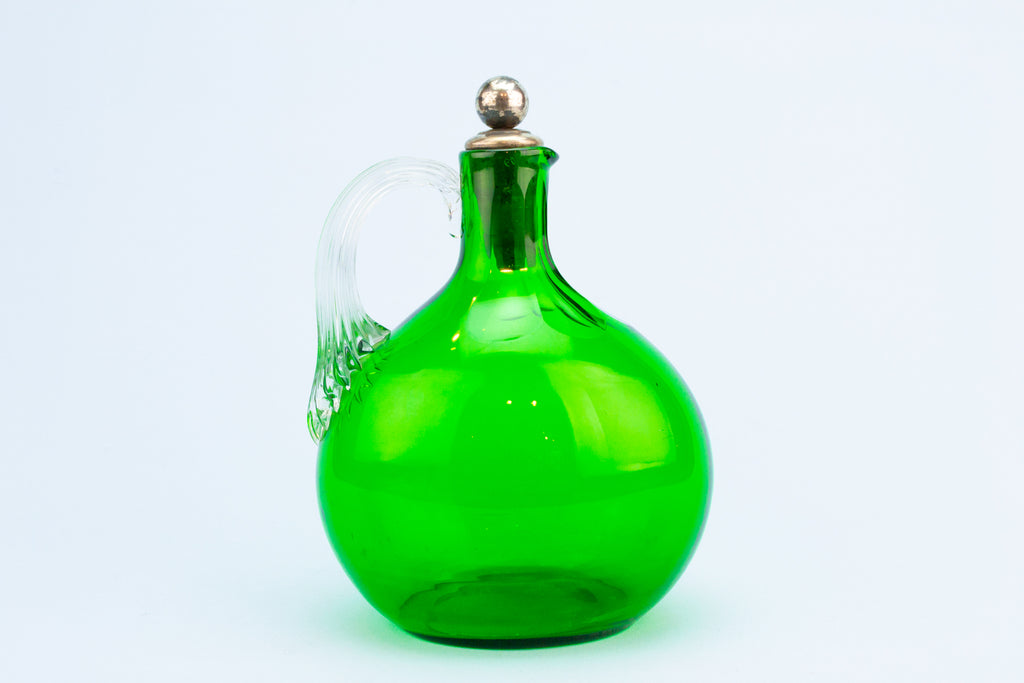 Green Glass Wine Decanter, English 19th Century