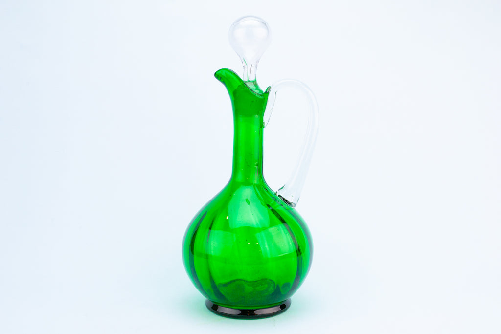 Green Glass Wine Carafe, English 19th Century