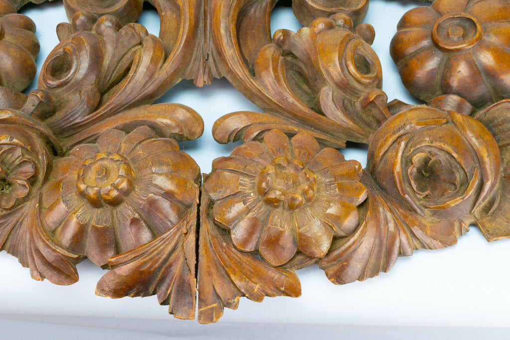 Large Carved Wood Cornucopia Panel
