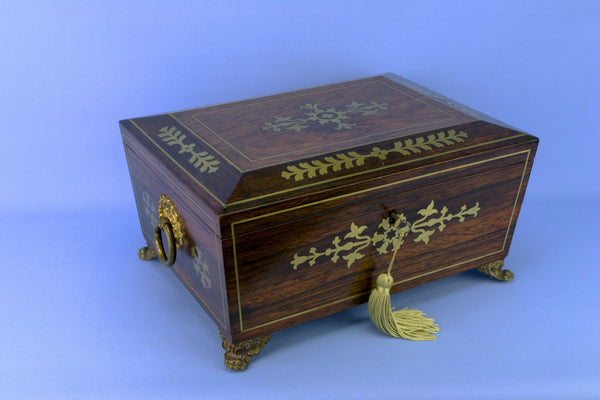 Wooden Sewing Box, English Circa 1830
