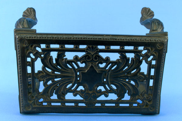 Black Cast Iron Fireplace Trivet, English 19th Century