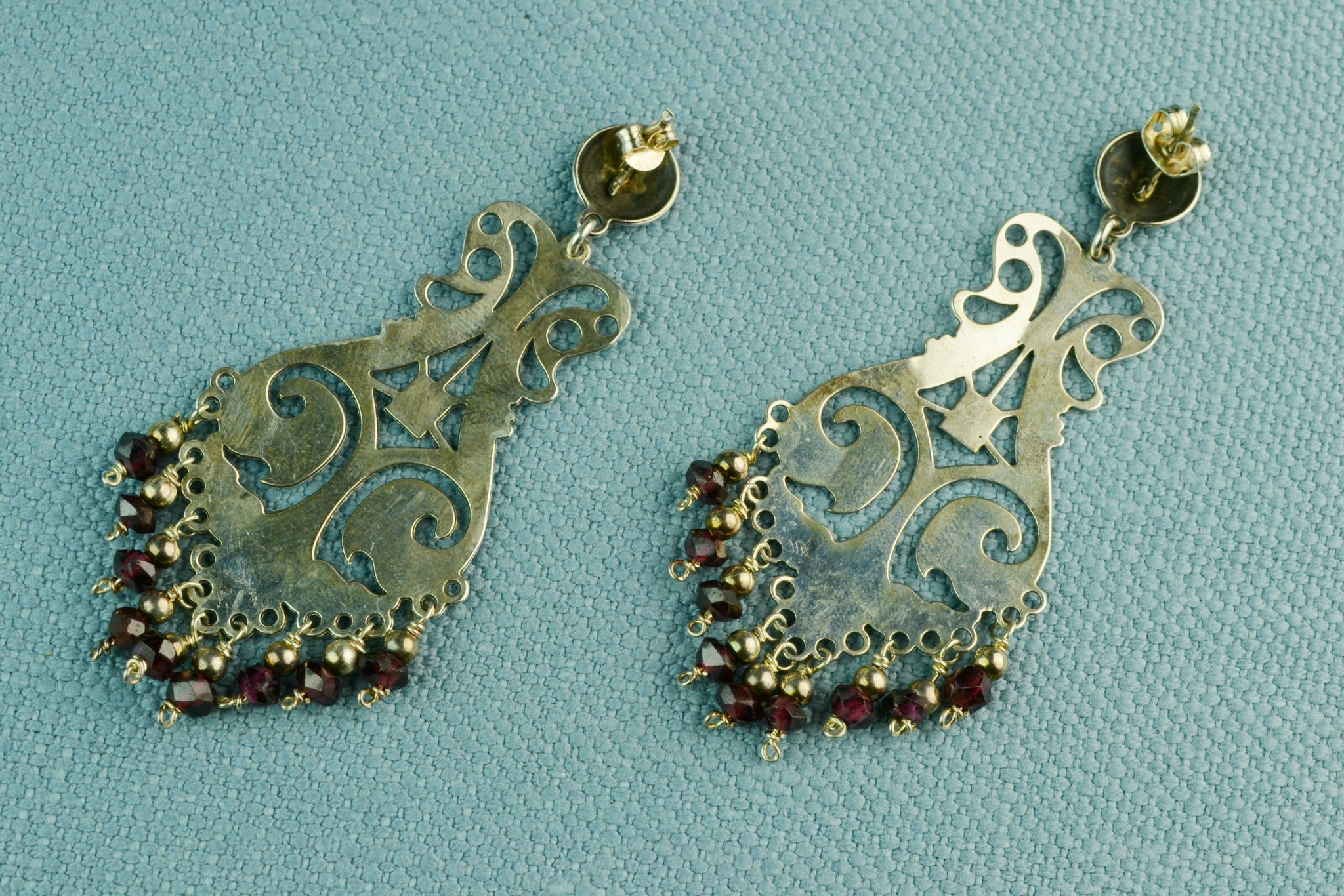 Earrings Silver & Ruby Gem Pendants, Iberian