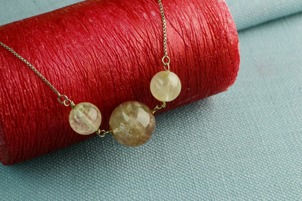 Necklace in Silver with Rutilated Quartz Beads