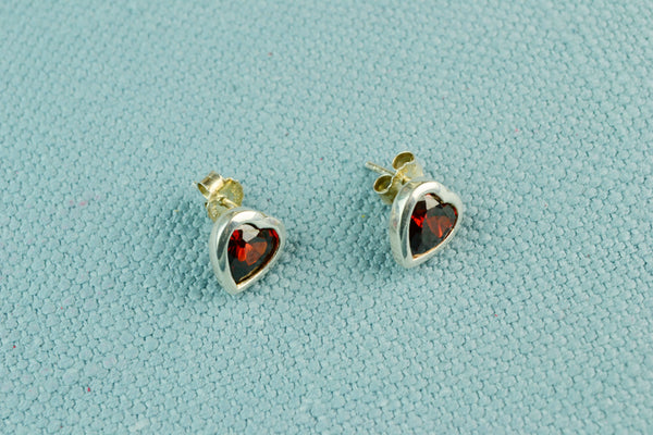 Stud Earrings Sterling Silver & Red Heart CZ