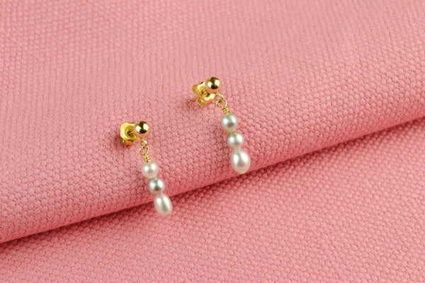 Earrings Gold Plated & Fresh Water Cultured Pearls